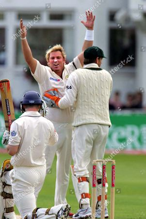 ANDREW STRAUSS (Eng) CAUGHT BY JUSTIN LANGER AND BOWLED BY SHANE WARNE England v Australia at Trent Bridge 4th test 1st day 25/8/2005