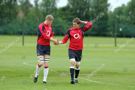 Alex Brown (left) and James Forrester (right) shake hands at the training session HARLINGTON SPORTS GROUND IMPERIAL COLLEGE 25/05/2006