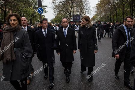 Manuel Valls, Francois Hollande and Juliette Meadel at a ceremony to commemorate the first anniversary of the November 2015 terrorist attacks, at Bataclan concert hall
