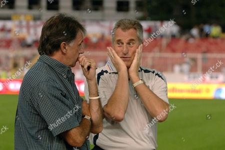 Ray Clemence jokes with Mark Lawrenson (Radio and TV Presenter) Macedonia v England Skopje Stadium 6/9/2006