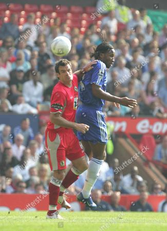 DIDIER DROGBA ( CHELSEA ) RYAN NELSEN ( BLACKBURN ) BLACKBURN ROVERS v CHELSEA F A CUP SEMI-FINAL AT OLD TRAFFORD MANCHESTER 15/04/2007 ENGLAND MANCHESTER