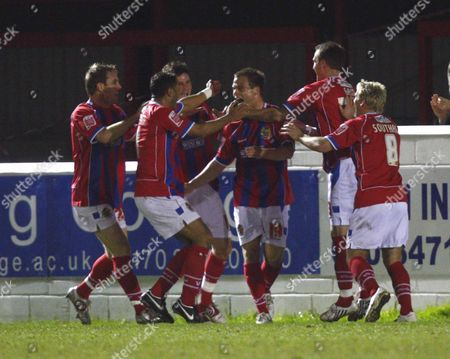 DANNY FOSTER ( DAGENHAM ) CELEBRATES HIS GOAL WITH HIS TEAM MATES DAGENHAM and REDBRIDGE v HEREFORD UNITED COCA-COLA DIVISION TWO AT THE VICTORY ROAD DAGENHAM 26/02/2008