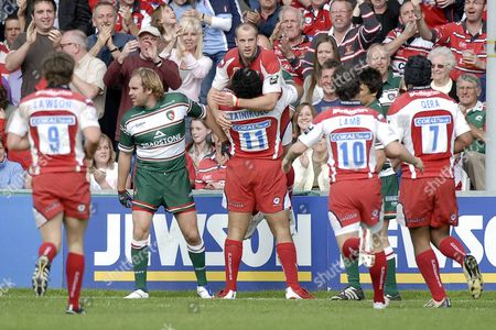 Stock Picture of Lesley Vainikolo (Gloucester) lifts up James Simpson-Daniel (Gloucester) to celebrate his try Rory Lawson (Gloucester) Ryan Lamb (Gloucester) and Akapusi Qera (Gloucester) join in Gloucester Vs Leicester Guinness Premiership Semi Final Kingsholm Gloucester 18/05/2008