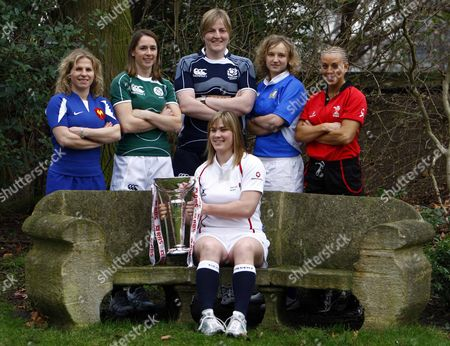 BACK ROW LEFT TO RIGHT ESTELLE SARTINI ( FRANCE ) SARAHJANE BELTON ( IRELAND ) JILLY McCORD ( SCOTLAND ) PAOLA EANGIROLAMI ( ITALY ) NON EVANS ( WALES ) FRONT ROW CATHERINE SPENCER ( ENGLAND ) RBS 6 NATIONS LAUNCH AT THE HURLINGHAM CLUB RENELAGH GARDENS LONDON 23/01/2008 LONDON