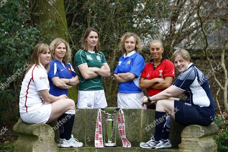 LEFT TO RIGHT CATHERINE SPENCER ( ENGLAND ) ESTELLE SARTINI ( FRANCE ) SARAHJANE BELTON ( IRELAND ) PAOLA EANGIROLAMI ( ITALY ) NON EVANS ( WALES ) JILLY McCORD ( SCOTLAND ) RBS 6 NATIONS LAUNCH AT THE HURLINGHAM CLUB RENELAGH GARDENS LONDON 23/01/2008 LONDON