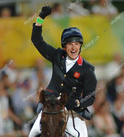 Kristina Cook (Great Britain) celebrates her clear round to win the Bronze Medal Equestrian event Shatin Hong Kong Beijing Olympics 2008 12/8/2008 She is the daughter of Horse racing trainer Josh Gifford