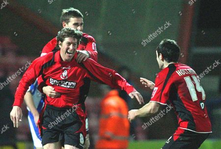 Darren Anderton (Bournemouth) celebrates with Michael Symes and Danny Hollands after coming on as a substitute to score Bournemouth's only goal in his final match before retiring AFC Bournemouth vs Chester at Dean Court Bournemouth Coca-Cola Football League Two 6/12/2008 England London