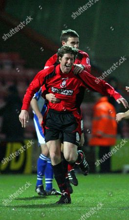 Darren Anderton (Bournemouth) celebrates with Michael Symes after coming on as a substitute to score Bournemouth's only goal in his final match before retiring AFC Bournemouth vs Chester at Dean Court Bournemouth Coca-Cola Football League Two 6/12/2008 England London