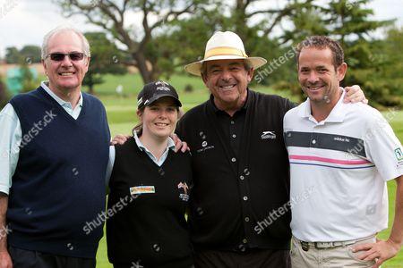 Golf - British Par 3 Championship - Nailcote Hall 09/08/2011 Tony Jacklin CBE (white hat) with Eric Herd (Farm Foods and Sponsor) left