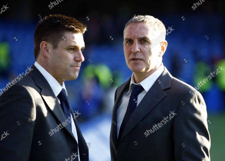 Stock Picture of Steve Tilson Manager and Asst Manager Paul Brush Chelsea Vs Southend United F A CUP 3rd Round at Stamford Bridge Stadium 03/01/2009 England London