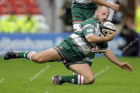 George Chuter (Leicester Tigers) slips over as he catches the ball Gloucester Rugby Vs Leicester Tigers Guinness Premiership Kingsholm Gloucester 07/09/2008