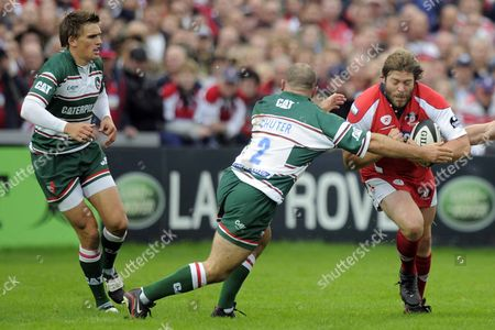Carlos Nieto (Gloucester) is tackled by George Chuter (Leicester Tigers) Gloucester Rugby Vs Leicester Tigers Guinness Premiership Kingsholm Gloucester 07/09/2008