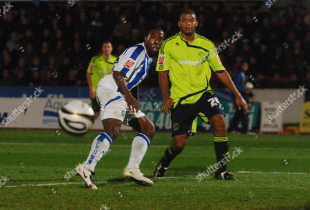 Joe Anyinsah (Brighton) Miles Addison (Derby) Brighton and Hove Albion v Derby County Carling League Cup 3rd rd 4/11/2008