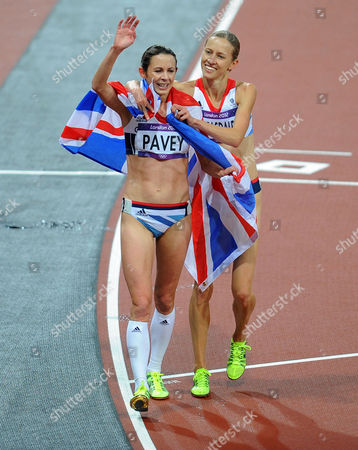 Olympics - London 2012 - Athletics Womens 3000m Final Joanne Pavey with Julia Bleasdale (GBR) after the race