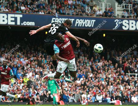 Football - Premier League - West Ham United vs Aston Villa Victor Obinna Of West Ham and Kyle Walker of Aston Villa at Upton Park London