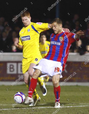 Danny Foster of Dagenham and Redbridge Matt Harrold of Wycombe Wanderers Dagenham and Redbridge v Wycombe Wanderers at Victoria Road Stadium London Coca-Cola Division Two 17/02/2009 England London