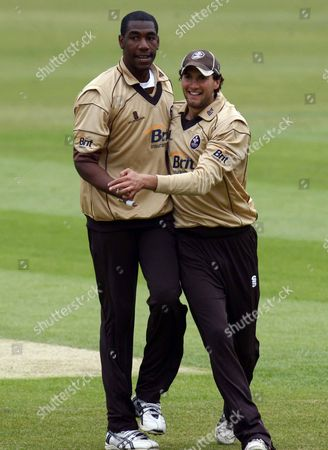Alex Tudor of Surrey County Cricket celebrates his wicket with Chris Schofield of Surrey County Cricket Friends Provident Trophy Group C Surrey Brown Cap v Gloucestershire Gladiators at The Brit Oval 13/05/2009