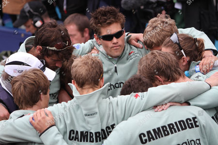 Stock Photo of Rowing - University Boat Race - Oxford vs Cambridge Alexander Sharp wearing sunglasses and the Cambridge crew subdued after their controversial win in the 2012 Boat Race Dr Alexander Woods of the Oxford team has been taken to hospital after collapsing on the finish line