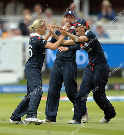 Katherine Brunt of England celebrates taking the wicket of Rachel Priest of New Zealand with captain Charlotte Edwards and Jenny Gunn England vs New Zealand ICC Women's Twenty20 World Cup Final Lords London UK 21/06/2009