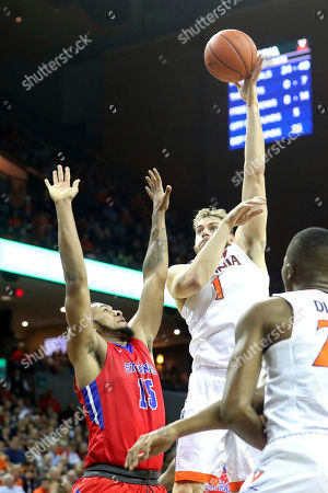 Virginia forward Austin Nichols (1) shoots during the second half of an NCAA college basketball game on in Charlottesville, Va. Virginia defeated St. Francis (N.Y.) 72-32