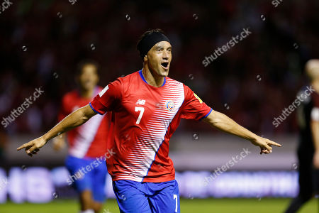 Costa Rica's Christian Bolanos celebrates after scoring against United Staes during a 2018 World Cup qualifying soccer match in San Jose, Costa Rica
