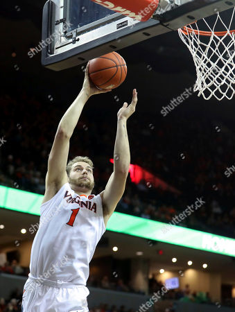 Virginia forward Austin Nichols (1) shoots during an NCAA college basketball game on in Charlottesville, Va. Virginia defeated St. Francis (N.Y.) 72-32
