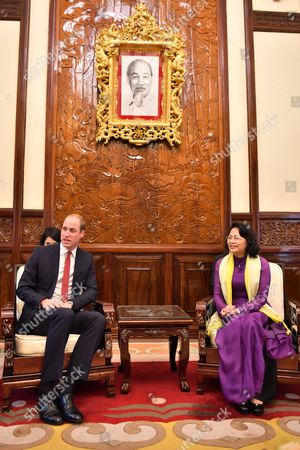 Prince William and State Vice President Dang Thi Ngoc Thinh at the Presidential Palace in Hanoi
