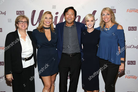 Carol M. Stern, Donatella Arpaia, Ming Tsai, Hilary Gumbel, Carla Tardif President and CEO of the U.S. Fund for UNICEF, Carol M. Stern, restaurateur Donatella Arpaia, chef Ming Tsai, Hilary Gumbel, and CEO of Family Reach, Carla Tardif attend the premiere event of TLC and Discovery Family's UniChef: Uniting Through Food at Unicef House on in New York