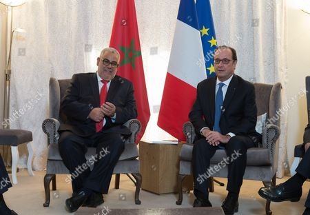 Stock Picture of Abdelilah Benkirane and French President Francois Hollande