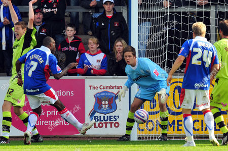 Stock Picture of Football Coca Cola League one Carlisle United vs Tranmere Rovers at Brunton Park Joe Anyinsah (Carlisle United) slots home this shot leaving the Tranmere keeper rooted to the spot 05/09/2009 England Carlisle