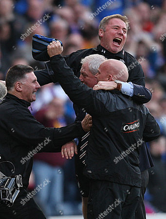 Rangers vs St Mirren CIS CUP FINAL Hampden Park 21st March 2010 Rangers coachiong staff of Walter Smith Ally McCoist and Kenny McDowell at the final whistle