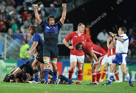 Wales v France ; Auckland; RWC semi final The Final whistle : Julien Pierre - France celebrates victory