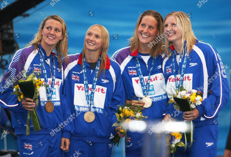 Swimming World Championships - Rome Left to Right: Jazmin Carlin Caitlin Mcclatchey Joanne Jackson and Rebecca Adlington of Great Britain receive the bronze medal during the medal ceremony for theWomen's 4x 200m 30/07/2009