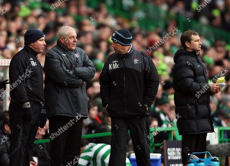 Celtic vs Rangers SPL Celtic Park 3rd January 2010 Ally McCoist Walter Smith Kenny McDowell with Peter Grant