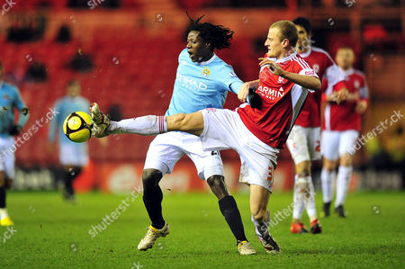 Football FA Cup Third Round Middlesbrough vs Manchester City at the Riverside David Wheater (Middlesbrough) stops Benjani Mwaruwari (Manchester City) 02/01/2010