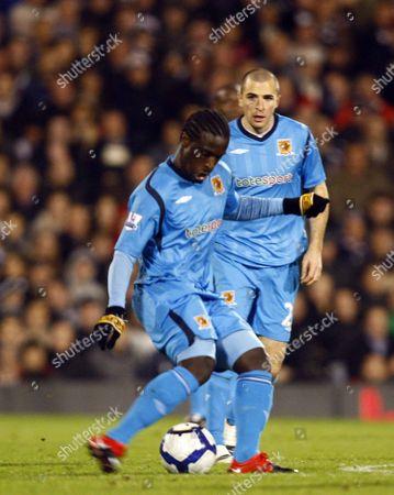 Football Hull City's Bernard Mendy Barclays Premiership Fulham v Hull City at Craven Cottage 19/10/2009