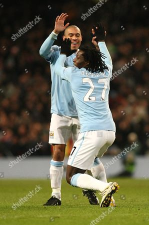 Football Manchester City v Blackburn Rovers City of Manchester Stadium Barclays Premier League 11/01/2010 Benjani Mwaruwari of Manchester City celebrates
