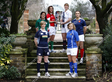 Rugby Left to Right: Lynn Reid of Scotland Fiona Coughlan of Ireland Catriona Nicholas of Wales Catherine Spencer of England Sandra Rabier of France and Paola Zangirolami of Italy RBS 6 Nations Media Launch at The Hurlingham Club 27/01/2010
