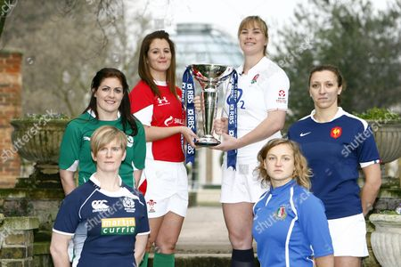 Stock Photo of Rugby Left to Right: Paola Zangirolami of Italy Fiona Coughlan of Ireland Catriona Nicholas of Wales Catherine Spencer of England Lynn Reid of Scotland and Sandra Rabier of France RBS 6 Nations Media Launch at The Hurlingham Club 27/01/2010
