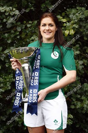 Rugby Fiona Coughlan of Ireland with Trophy RBS 6 Nations Media Launch at The Hurlingham Club 27/01/2010