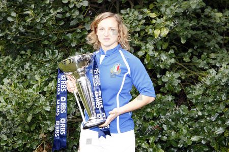 Stock Image of Rugby Paola Zangirolami of Italy with Trophy RBS 6 Nations Media Launch at The Hurlingham Club 27/01/2010