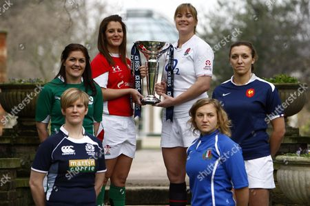 Rugby Union - RBS 6 Nations Media Launch at The Hurlingham Club Left to Right: Paola Zangirolami of Italy Fiona Coughlan of Ireland Catriona Nicholas of Wales Catherine Spencer of England Lynn Reid of Scotland and Sandra Rabier of France