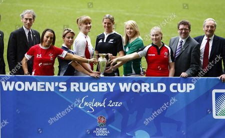 Rugby Left to Right;- Mike Miller IRB CEO Wales player Non Evans Scotland player Sarah Gill England Captain Catherine Spencer New Zealand Captain Victoria Heighway Ireland player Joy Neville Canada player Mandy Marchuk Gerry Sutcliffe the Minister for Sport and Martyn Thomas Chairman of the RFU Management Board England Captain Catherine Spencer and Rosie Williams RFUW Managing Director Women's Rugby World Cup 2010 Media Launch at Twickenham Stadium 23/11/2009