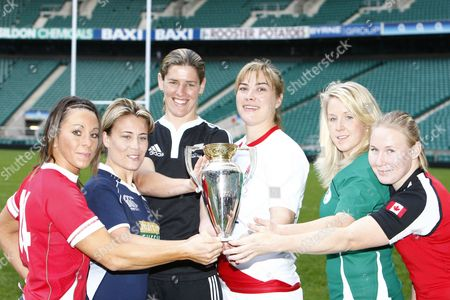 Rugby Left to Right:- Wales player Non Evans Scotland player Sarah Gill New Zealand Captain Victoria Heighway England Captain Catherine Spencer Ireland player Joy Neville andCanada player Mandy Marchuk Women's Rugby World Cup 2010 Media Launch at Twickenham Stadium 23/11/2009