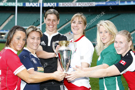 Rugby Left to Right:- Wales player Non Evans Scotland player Sarah Gill New Zealand Captain Victoria Heighway England Captain Catherine Spencer Ireland player Joy Neville and Canada player Mandy Marchuk Women's Rugby World Cup 2010 Media Launch at Twickenham Stadium 23/11/2009