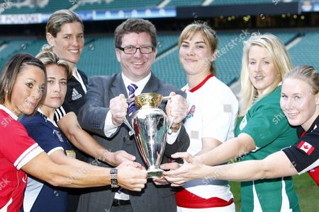Rugby Left to Right:- Wales player Non Evans Scotland player Sarah Gill New Zealand Captain Victoria Heighway Gerry Sutcliffe the Minister for Sport England Captain Catherine Spencer Ireland player Joy Neville andCanada player Mandy Marchuk Women's Rugby World Cup 2010 Media Launch at Twickenham Stadium 23/11/2009