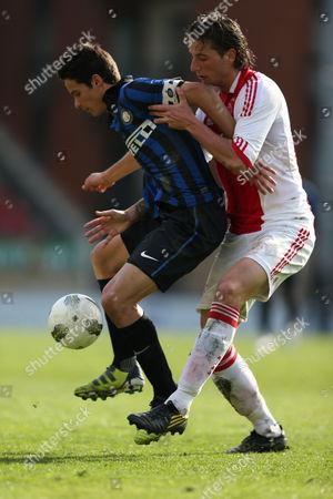 Football - NextGen Series Final - Ajax vs Inter Milan Andrea Romano of Inter under pressure from Mithail Dijks of Ajax