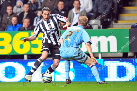 Football Coca-Cola Championship Newcastle United vs Scunthorpe United at St James' Park Jonas Gutierrez (Newcastle United) twists in and out past Andrew Wright (Scunthorpe) 17/03/2010