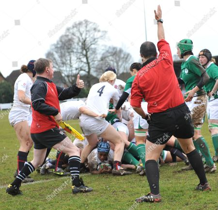 Margaret Alphonsi England (Saracens) scores the first try of the game England Women vs Ireland Women RBS Six Nations 28/02/2010 Easher Rugby Club England England London