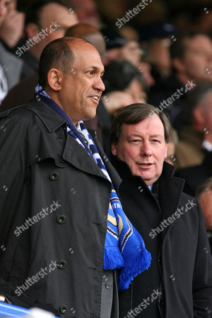 Stock Photo of Football FA Cup Sixth Round sponsored by E ON Portsmouth vs Birmingham City at Fratton Park Portsmouth's current owner Balram Chainrai and Portsmouth Executive Chairman Peter Storrie 06/03/2010